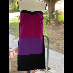 Strapless multi color party dress